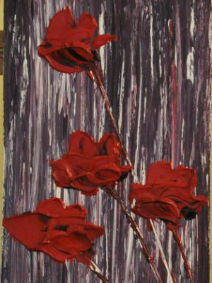 Red Flowers 8 X 16 Acrylic on Canvas board Embellished prints available