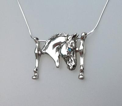 Dressage horse head and curb bit pendant and chain.  Cast in Sterling Silver