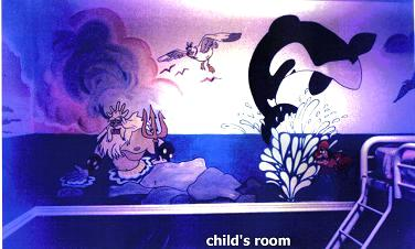 Whale & merman mural