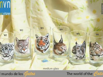 set of handpainted glasses: BIG CATS