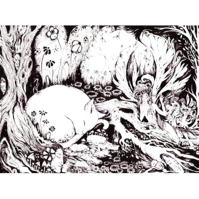 Fairy Cat Fantasy Art black and white drawing cat with fairies original cat picture
