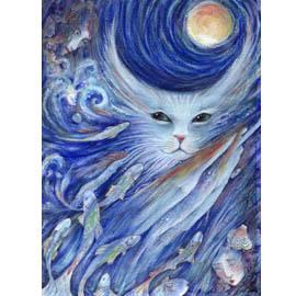 Cat's Dreamland original cat fantasy painting