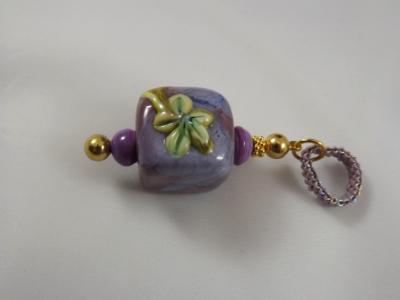 Pendant - Purple Lampwork Square Bead with Flower