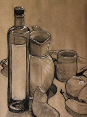 Still Life with Tall Bottle (Sold)