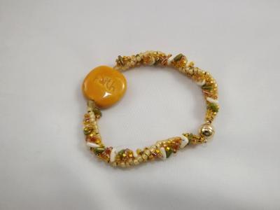B-163 Buttercup Yellow Kazuri Bead Bracelet