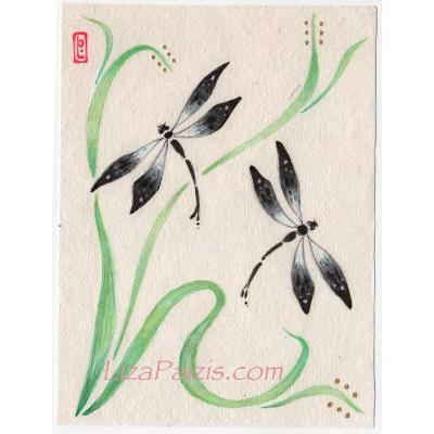 Dragonfly Original Painting Chinese brush style dragonfly art with tulips