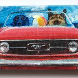 TWO DOGS IN A RED A MUSTANG
