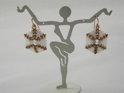 E-10 White & Gold AB Hexagon Earrings