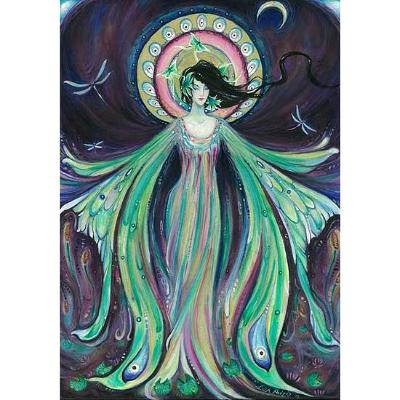 Luna Moth Fairy Art Nouveau original fairy painting
