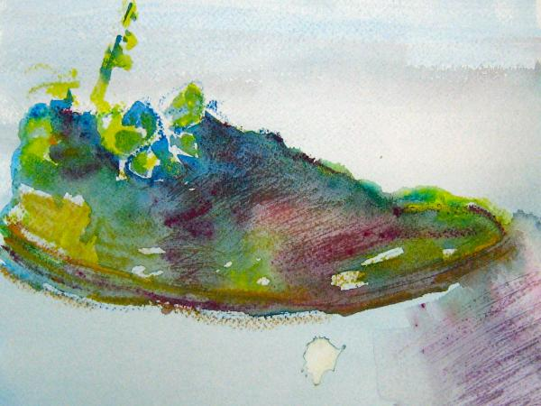 Watercolour 1(green on pale blue)
