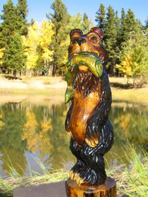 "Bear with Trout $260.00 7""X24"""