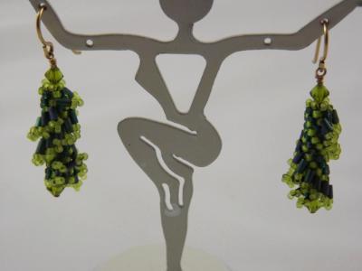 E-2 Green Ruffle Earrings