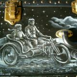 Motorcycle with basket side car on McGuffin Trunk