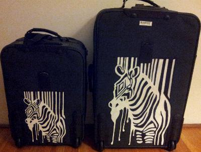 sm & lg set of zebra luggage