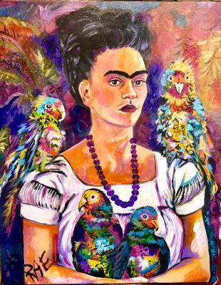 Frida Kahlo in Mardi Gras beads
