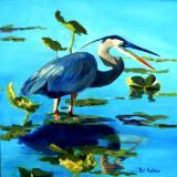 Great Blue Heron - oil - 20x20