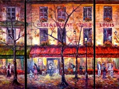 Nighttime in Montmartre - Triptych - SOLD