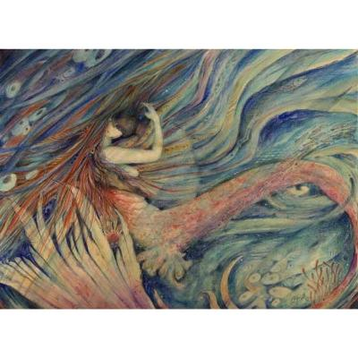 Merrow Kiss Original Watercolor Painting of a mermaid and her lover by Liza Paizis