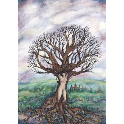 Dryad tree spirit original painting tree goddess art by Liza Paizis