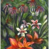 Coneflowers,Lillies,Surprised Faerie