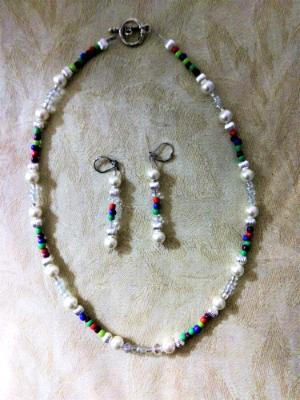 Mixed colors pearl necklace set
