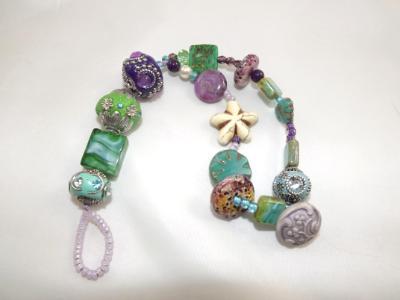 B-161 Green & Purple Chunky Bracelet