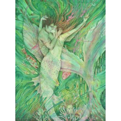 The Mermaid and the Sailor original watercolor painting of a mermaid and her love