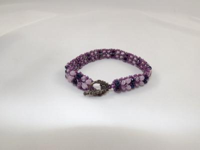B-99 shades of purple chevron bracelet