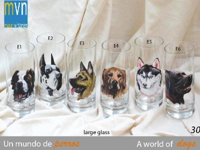 Set of handpainted glasses: A WORLD OF DOGS