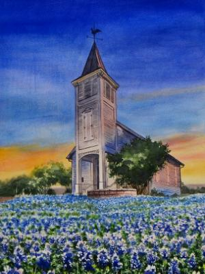 Custom portrait of a church in TEXAS, 45cm x 60cm, 2018