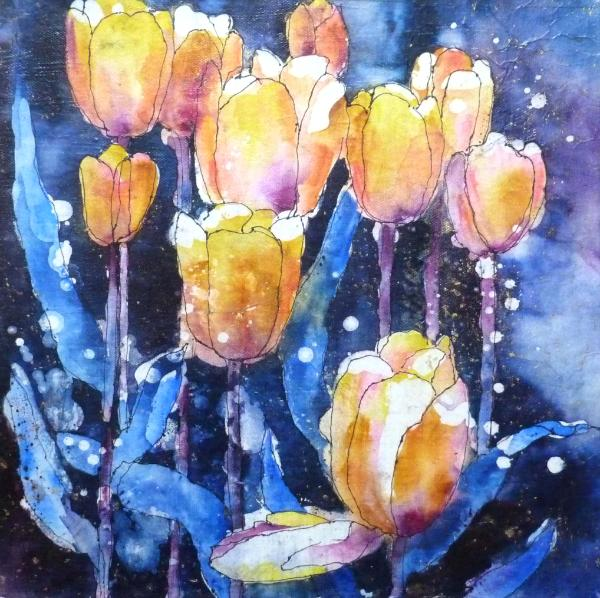Skagit Tulips Watercolor Batik ~ Sold