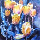 Skagit Tulips Watercolor Batik ~ Sold