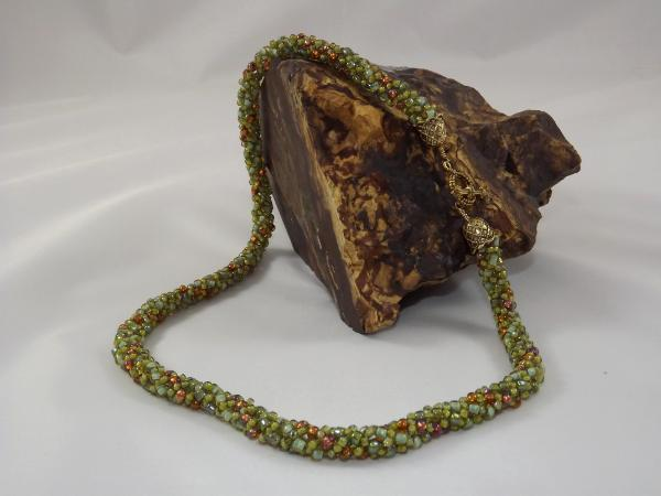N-9 Sage Green & Copper Russian Spiral Necklace