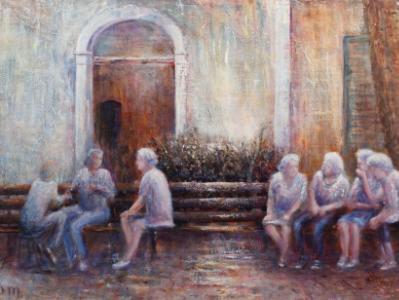 Gossip Hour in Siena - SOLD