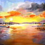 SOLD:Dam Sunset with Boats