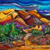 Hidden in the Hills-DeGrazia Mission in the Sun - Original Acrylic on Canvas  18x24 As Seen in Phoenix Home and Garden - SOLD