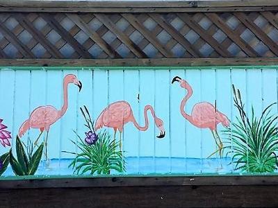 Flamingo fence mural