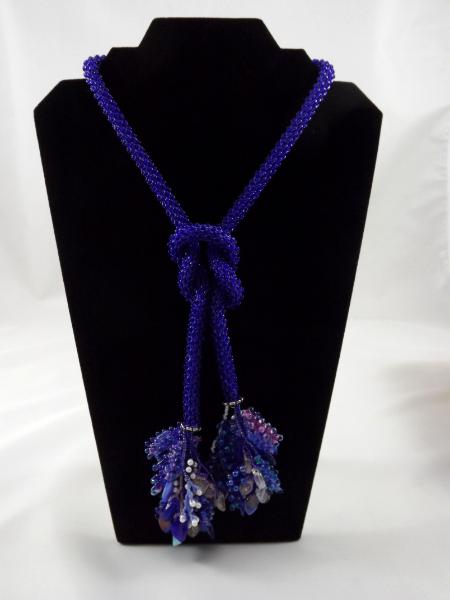 N-70 Cobalt Blue Crocheted Tassel Rope Necklace