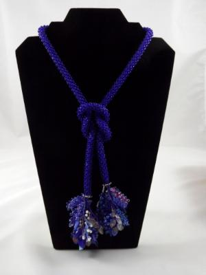 N-70 Cobalt Blue Crocheted Tassel Rope Necklace