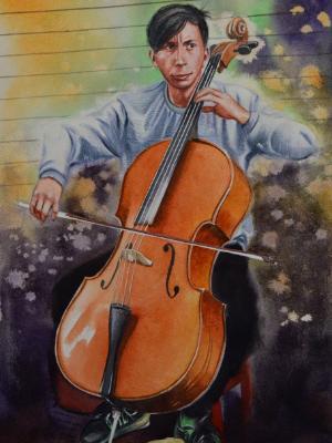 Portrait of a street violoncellist, 38cm x 56cm, 2020