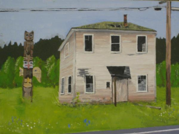 Dilapidated House with Totem pole