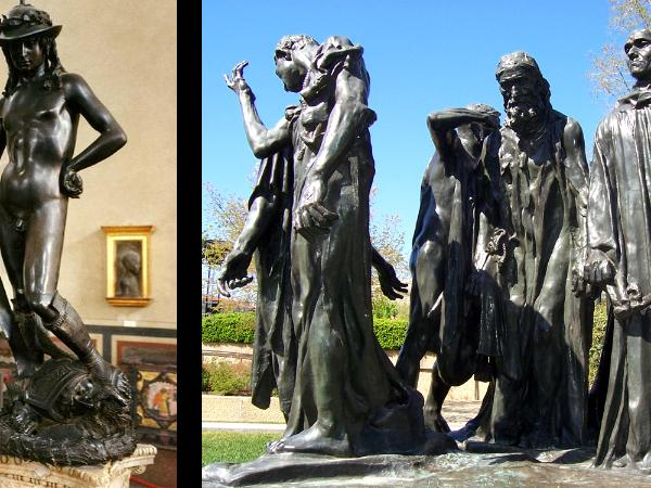 Sculptures by Verrochio and Rodin