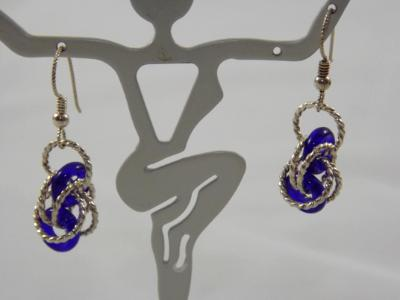 E-93 Cobalt Blue Glass Donut & Sterling Silver Earrings