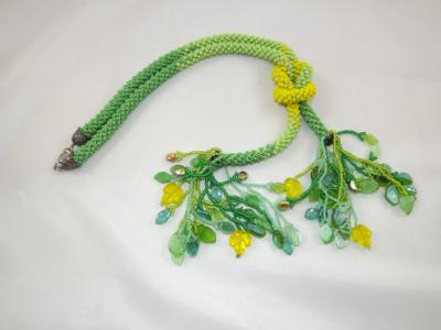 N-89 Green & Yellow Ombre Crocheted Rope Tassel Necklace