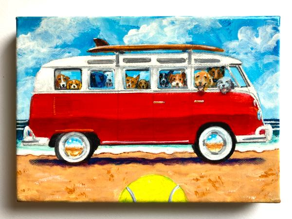 BUSLOAD OF SURFDOGS ON THE BEACH