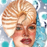 Shellgirl - Watercolour & Digital