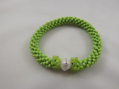 B-65 apple green crocheted rope bracelet