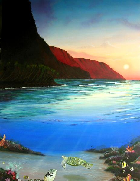 """Na pali above - Ke'e below,  choose price and size in """"buy now"""""""