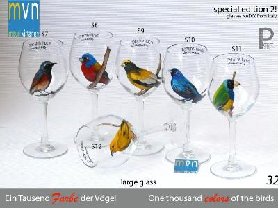Set of handpainted glasses: ONE THOUSEND COLORS OF THE BIRDS