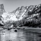 Frozen Dream Lake Morning Black & White